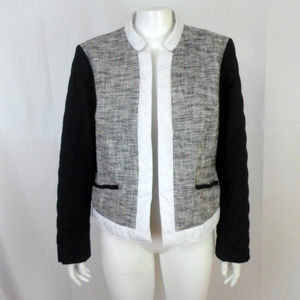Chicos Tweed Open Front Jacket sz 2 Large 12 E4